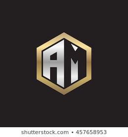 Initial Letters Am Negative Space Hexagon Shape Logo Silver Gold