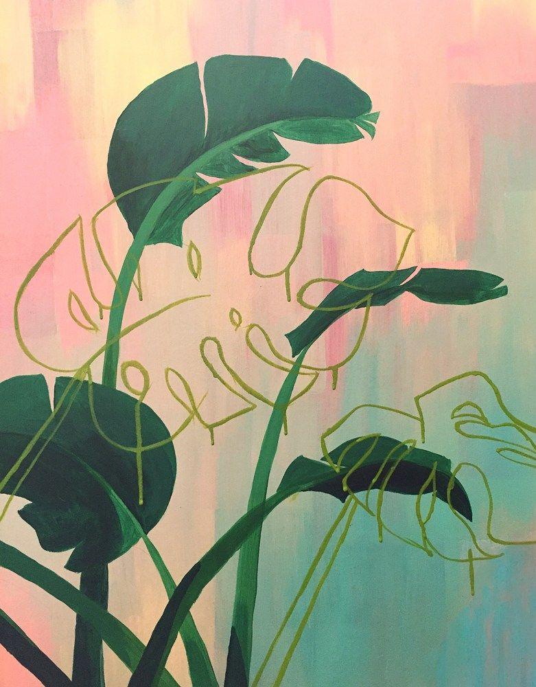 Paradise Found Bright Medium Sized Tropical Acrylic Painting Painting Art Art Painting