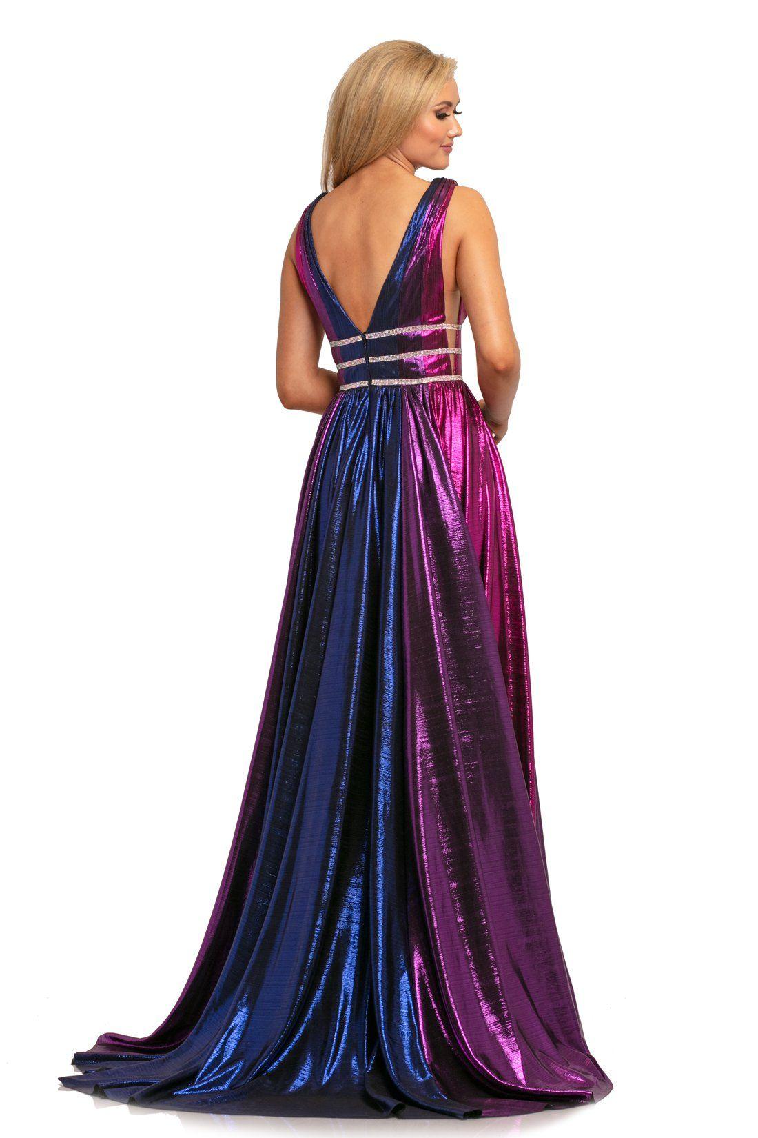Johnathan Kayne 2008 Plunging Multi Colored Metallic A Line Gown Johnathan Kayne A Line Gown Multi Color Prom Dress [ 1650 x 1100 Pixel ]