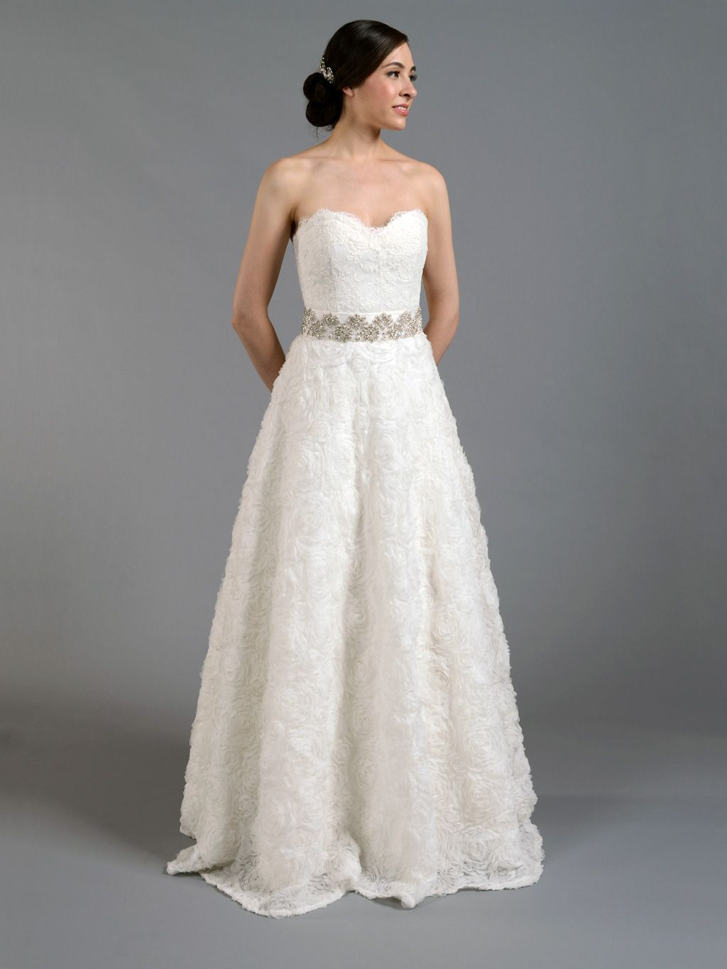 Ivory Strapless Lace Wedding Dress With Rosette Skirt 499 99