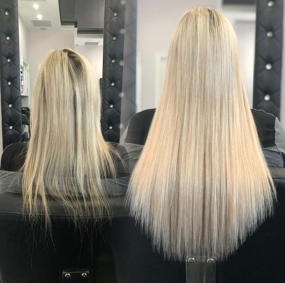 Before and After Hair Extensions Specializing in Fusion