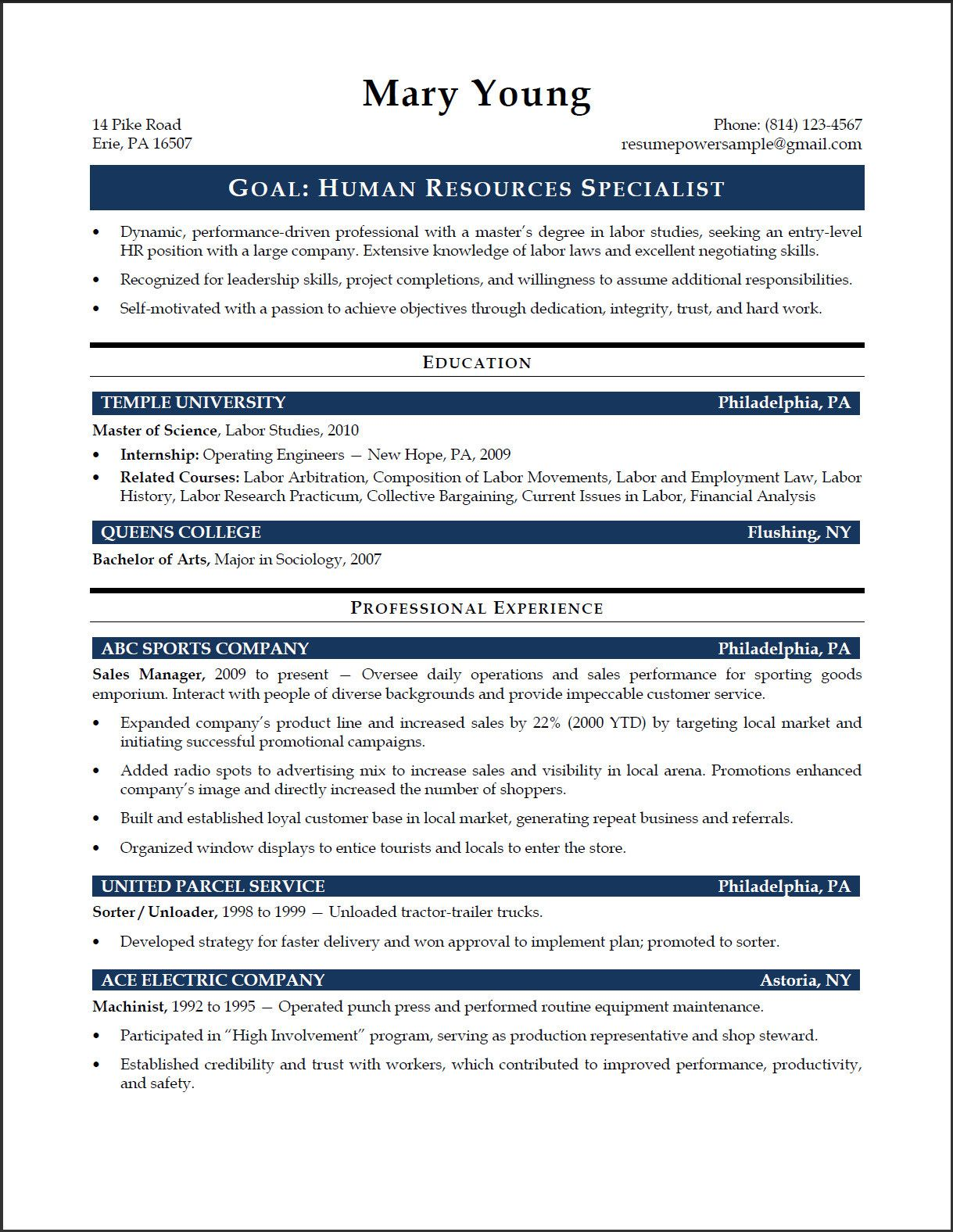 Entry Level Human Resources Resume | Writing Resources | Pinterest ...