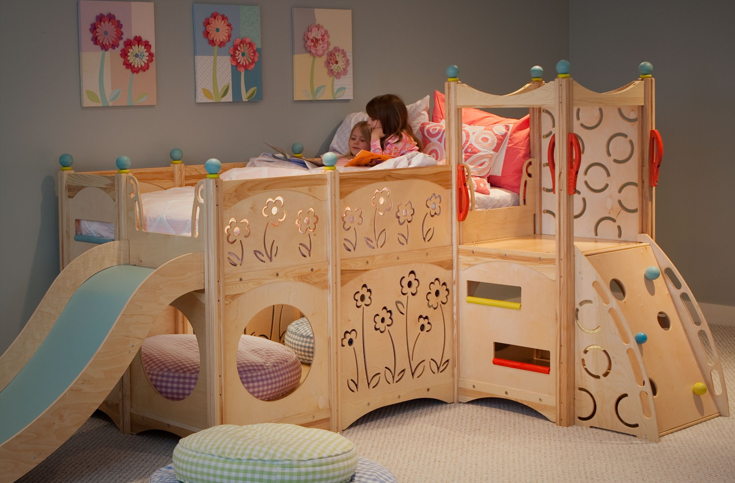 Furniture Beds Frames Amazing Play Kids With Wooden Bunk Bed Also