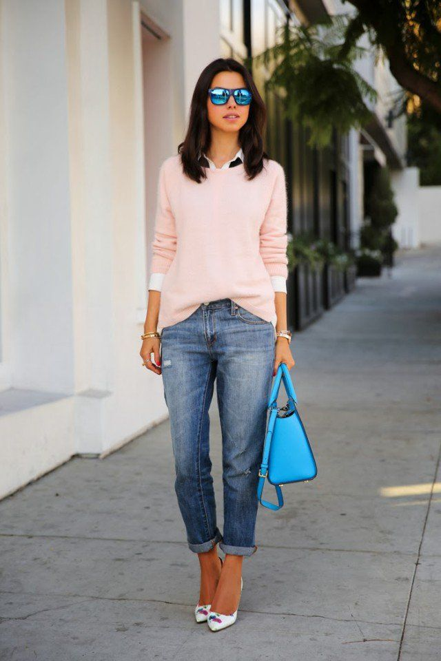 16 Casual-Chic Shirt and Sweater Combinations | Boyfriend jeans ...