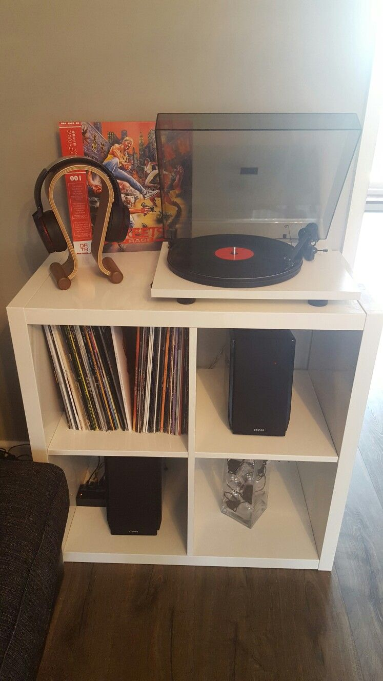 Ikea Holztruhe Ikea Kallax Turntable Setup Audio Turntable Setup Living Room