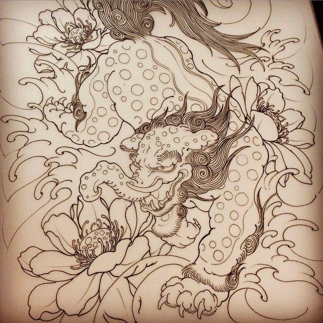 獏 And 蓮 Baku Lotus Sketch Drawing Tattoo Horitsugu