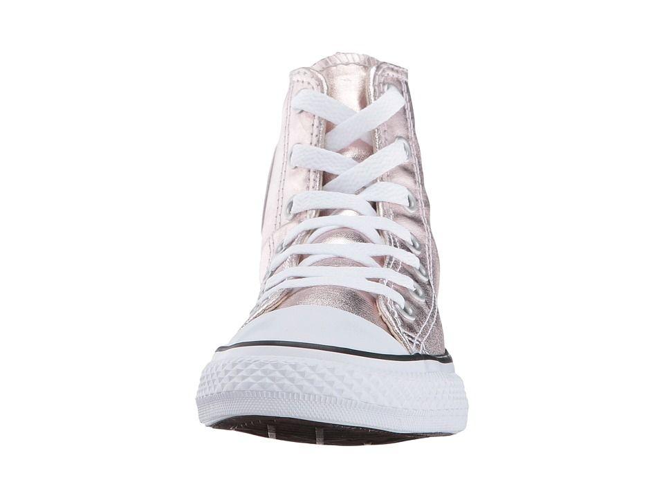 fe104300cd07 Converse Kids Chuck Taylor All Star Hi Metallic (Little Kid) Girl s Shoes  Rose Quartz White Black