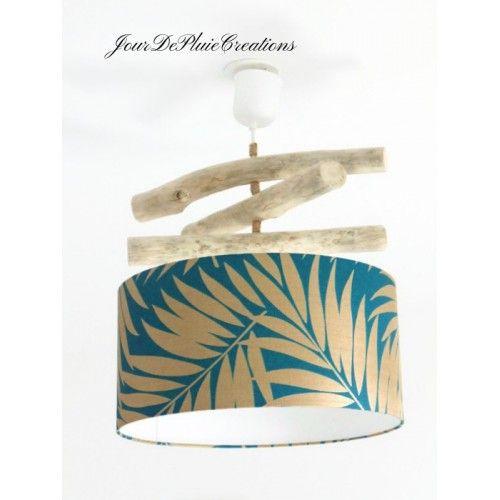 lustre bois flott abat jour feuilles exotiques or bleu. Black Bedroom Furniture Sets. Home Design Ideas