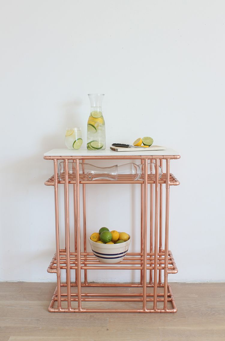 Gorgeous diy copper pipe side table with marble top marble top