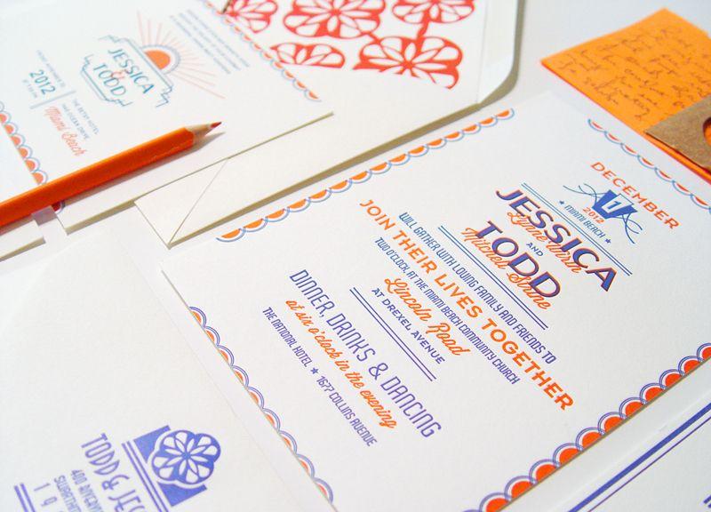 jessica  todd's art deco letterpress wedding invitations