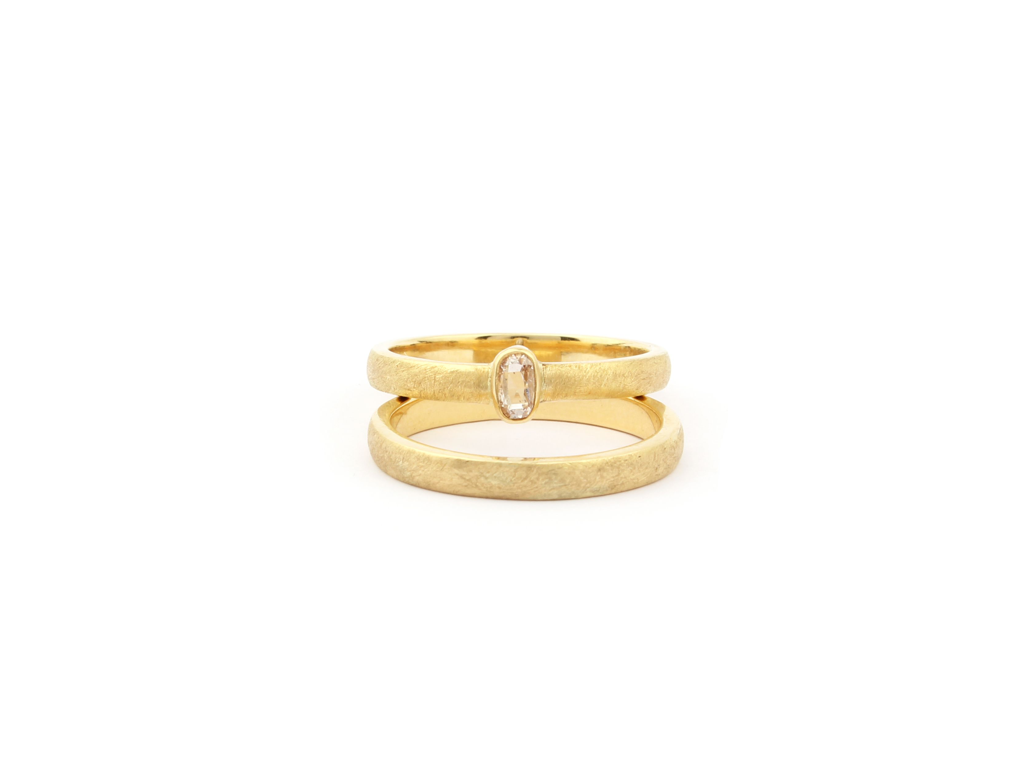 Wedding Rings 18 Carat Fair Trade Gold With Vintage Diamond By Atelier Luz