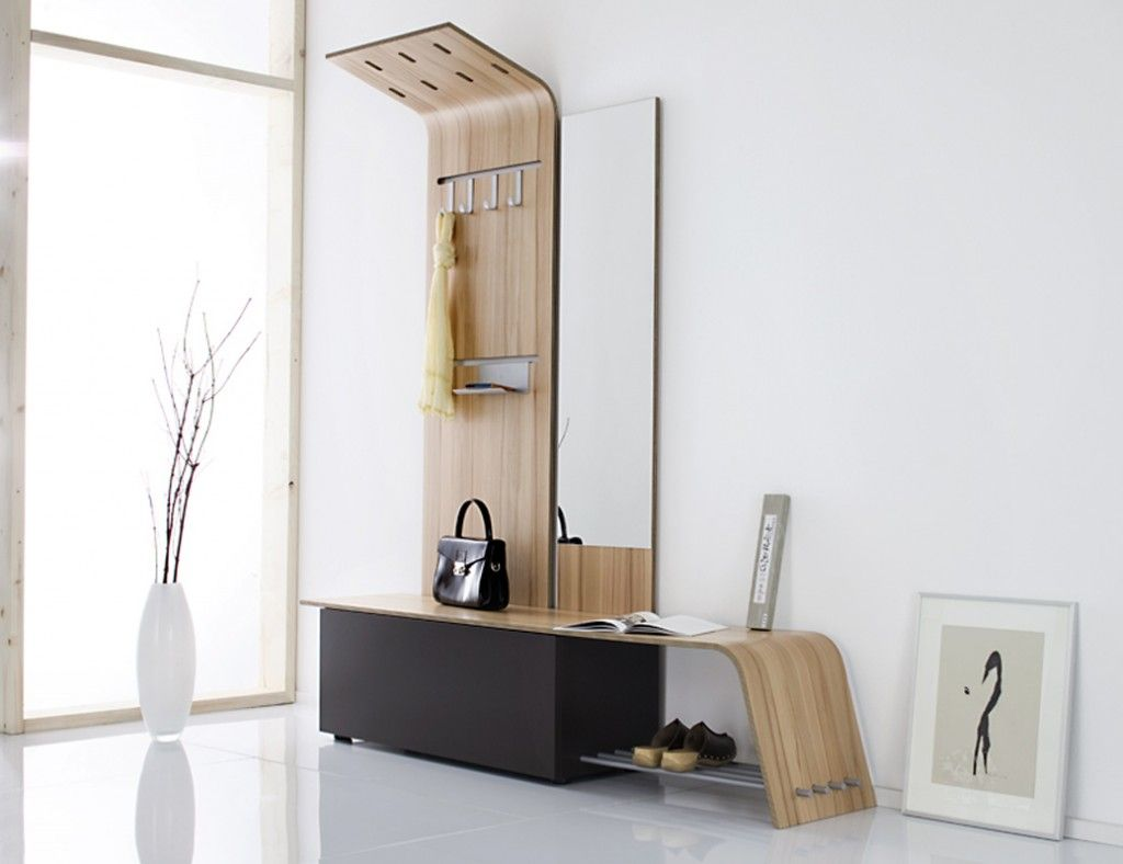 Small Modern Entryway Shoe Storage Design Combined With