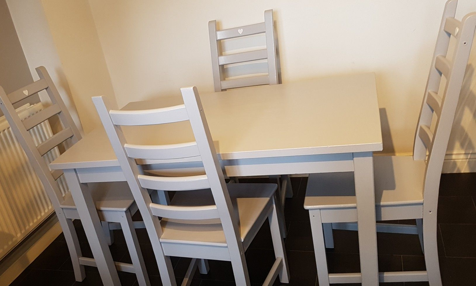 Pine Table And Chairs Painted In Light Grey Pine Dining Room