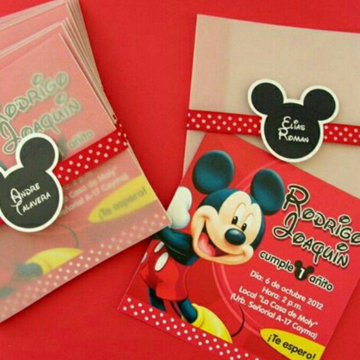 Mickey Mouse 12 Tarjetas De Invitación Personalizadas