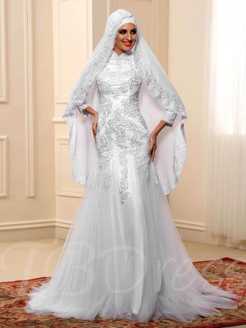 Long sleeve lace tulle mermaid muslim wedding dress in my