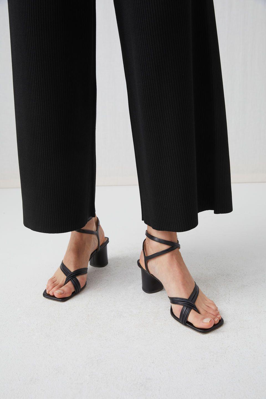 730c6b64303 Wide Rib-Knit Trousers - Black - Trousers - ARKET SE Ankle Strap Heels