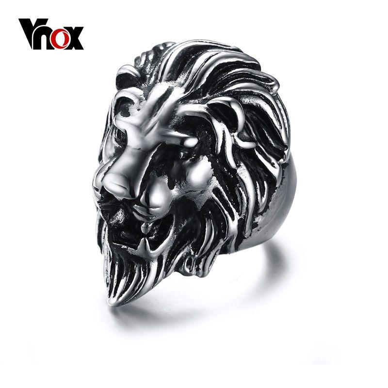Vnox 남성 사자 반지 스테인레스 스틸 락 펑크 반지 남성 보석
