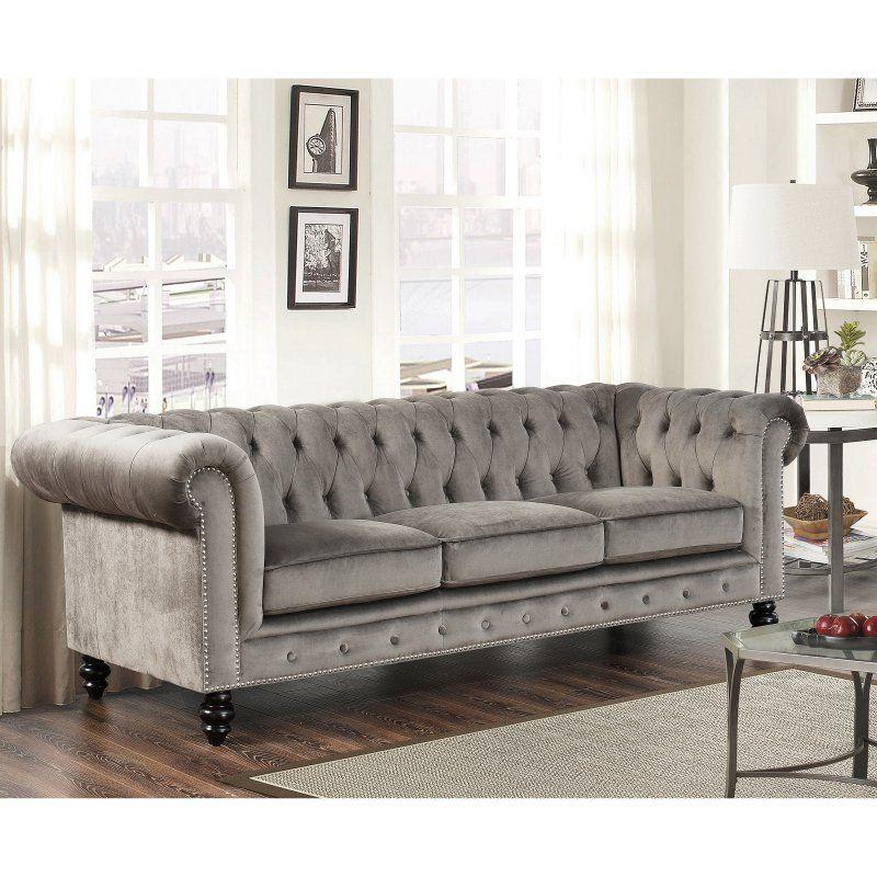 Stupendous Abbyson Grand Chesterfield Gray Velvet Sofa Sk 2903V13 Gry Uwap Interior Chair Design Uwaporg