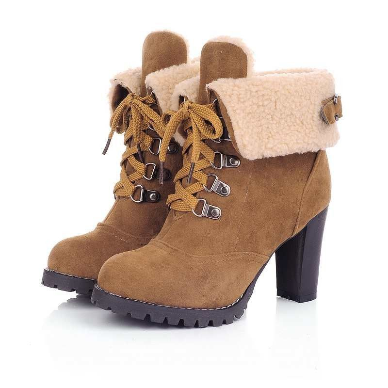 Women's Fashion Warm Chunky High Heel Ankle Snow Boots