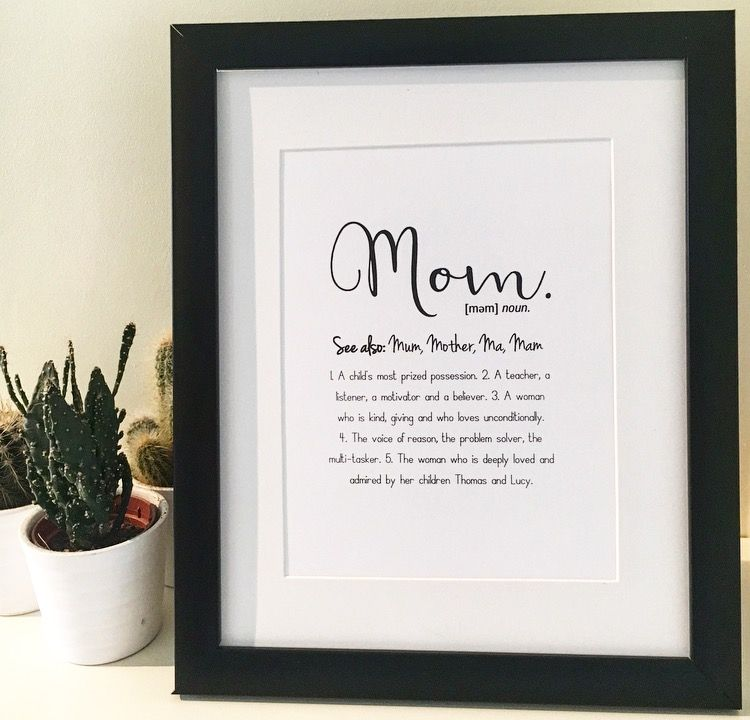 Mom Definition print perfect for Mothers Day Mum Mom