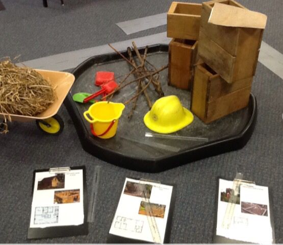 Builders yard in the classroom! Sticks, bricks and straw... Must be those 3 little pigs! #wowstarter