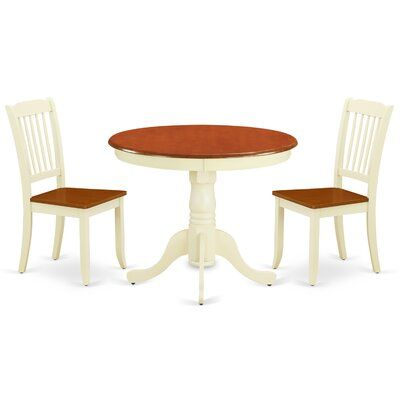 Color Cherry Buttermilk Solid Wood Dining Set Black Dining Room