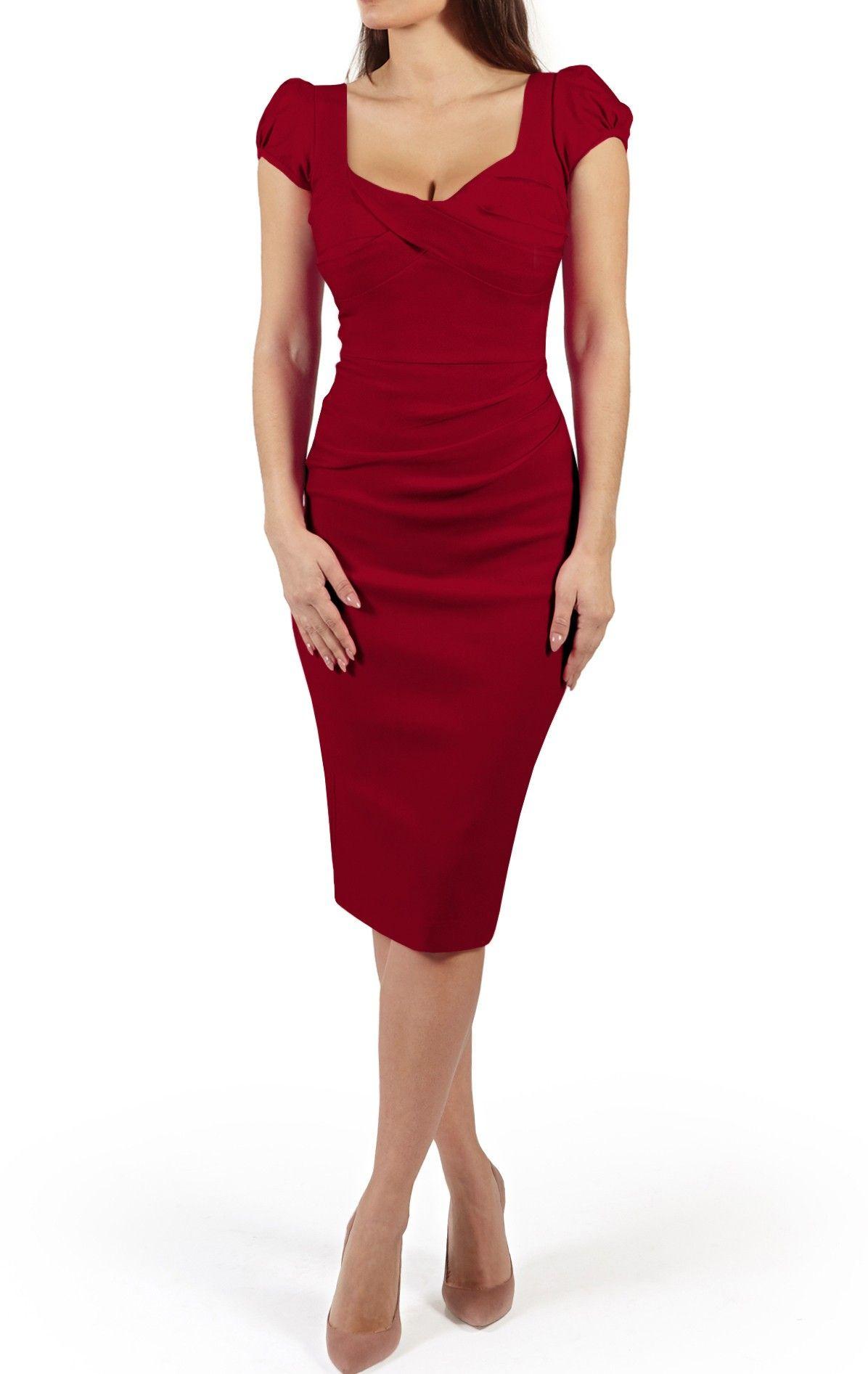 Nigella garnet dark red bodycon cocktail dress the dark red