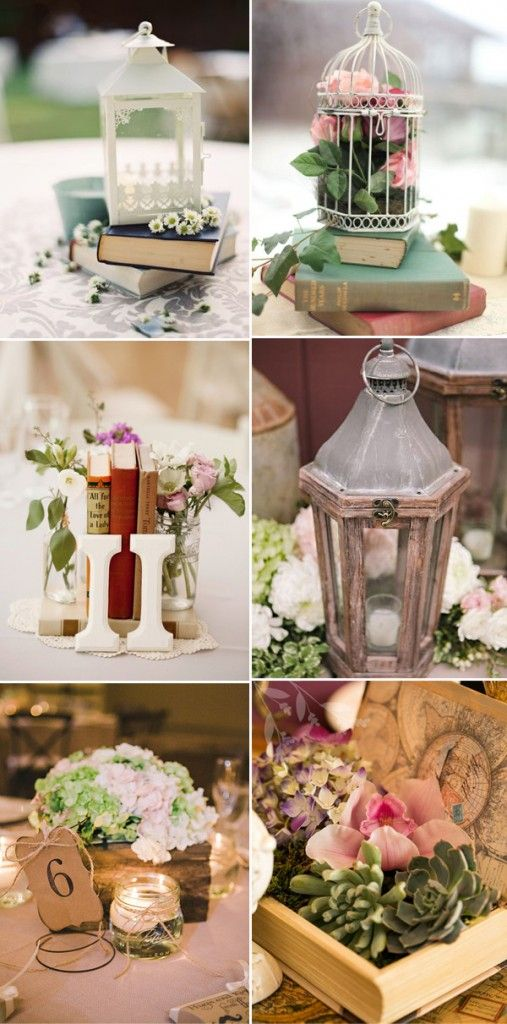 Vintage themed wedding centerpieces with lanterns and