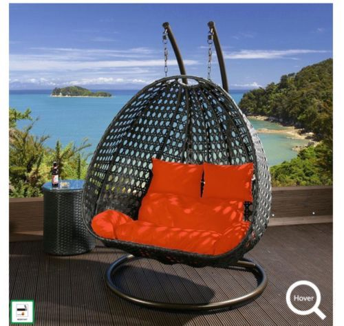Outdoor 2 Person Hanging Chairs Black Rattan Orange Cushion Garden