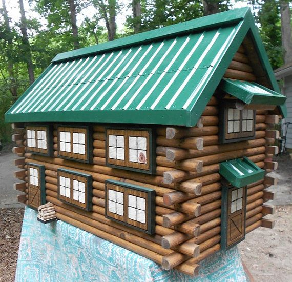 Items Similar To Large Log Cabin Mailbox, Handcrafted From Logs, Green  Metal Roof Mailbox, Engraved House Number Mailbox On Etsy