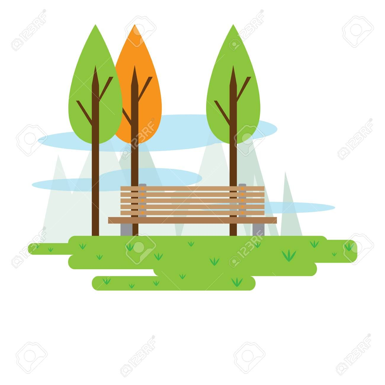 View of a public park with trees and a bench. Vector illustration design , #AD, #park, #trees, #View, #public, #illustration