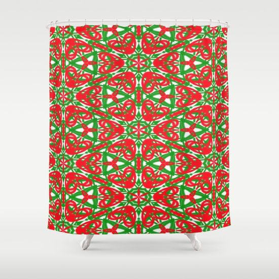 Red, Green and White shower curtain by Khoncepts