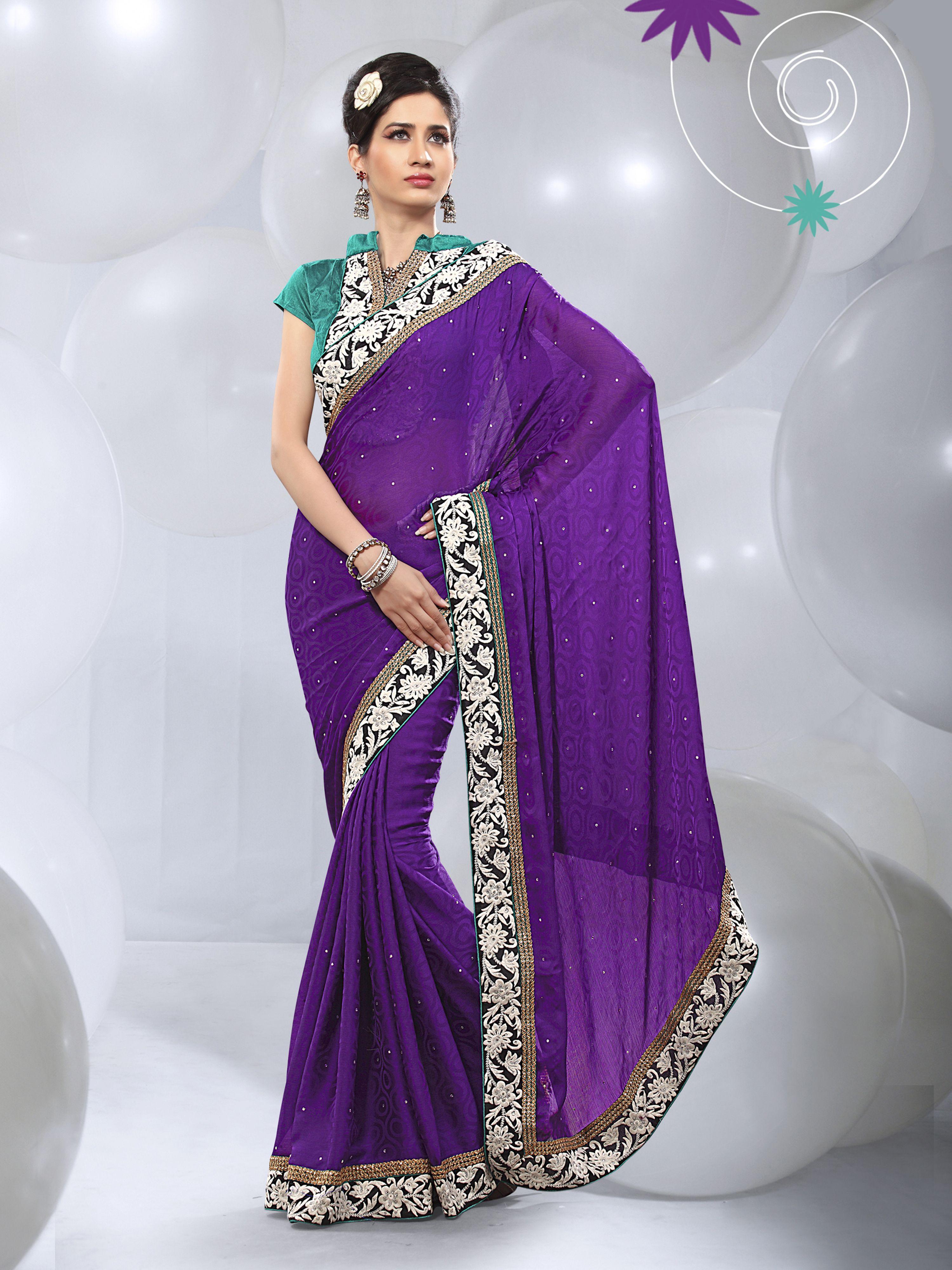 Sari wedding dress  Purple Designer Plain Sari USA For More Saree Check this page now