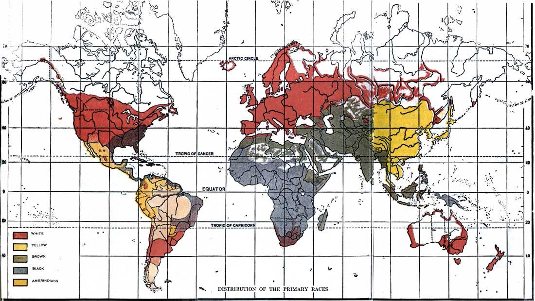 Global Racial Map By Lothrop Stoddard In The Rising Tide Of Color