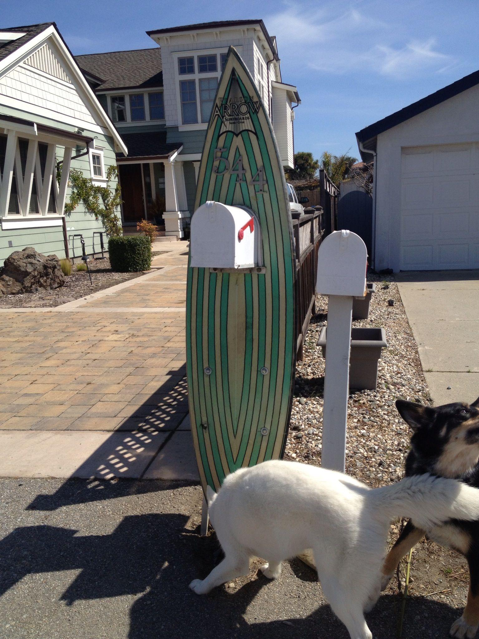 surfboard mailbox home