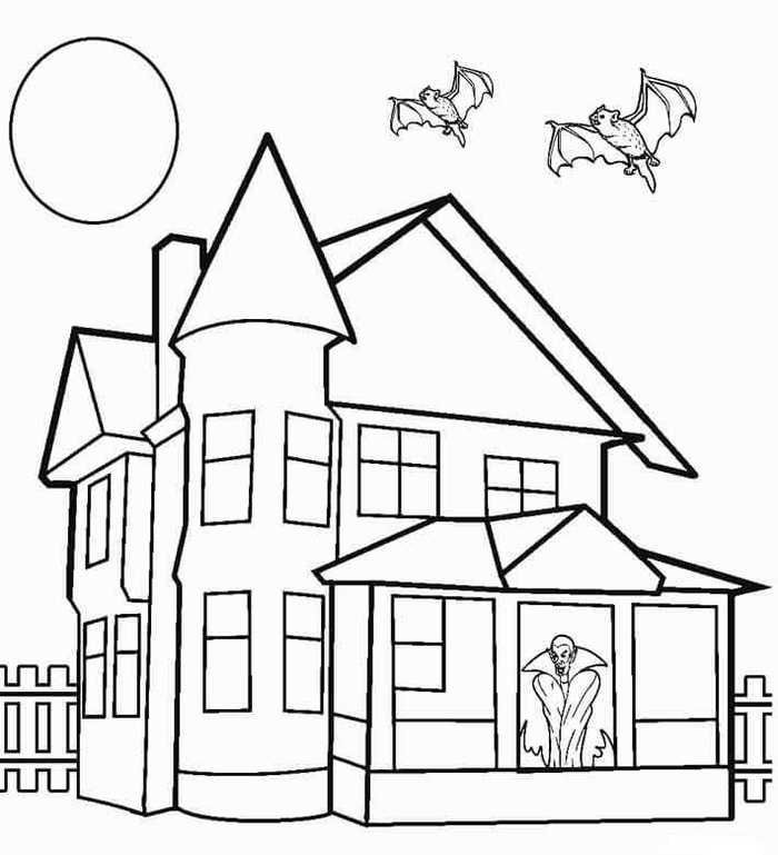 Printable Haunted House Coloring Pages House Colouring Pages Simple House Drawing House Drawing