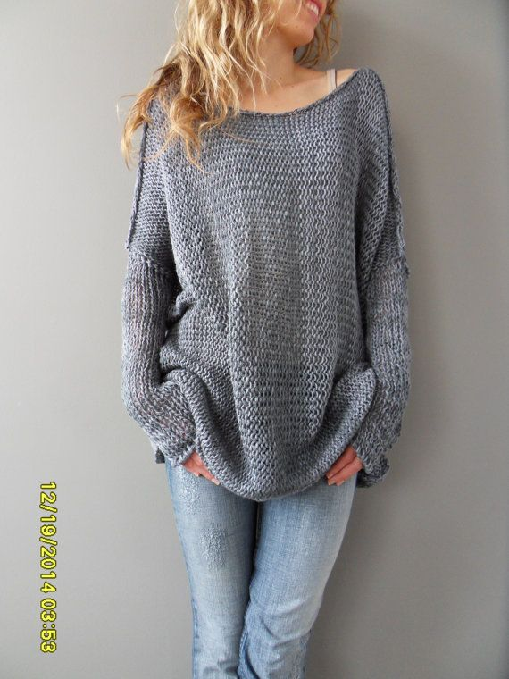 9debebf64 Oversized Bulky Slouchy woman knit sweater. Cotton blend