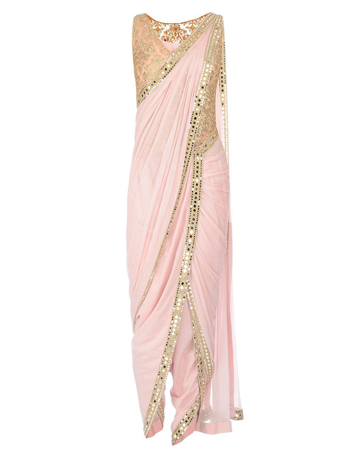 088efcb1e89a7 Mirror Work Embroidered Powder Pink Dhoti Saree More