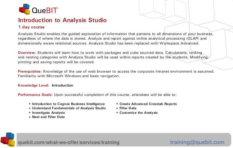 IBM Cognos Business Intelligence (BI) delivers the complete range of