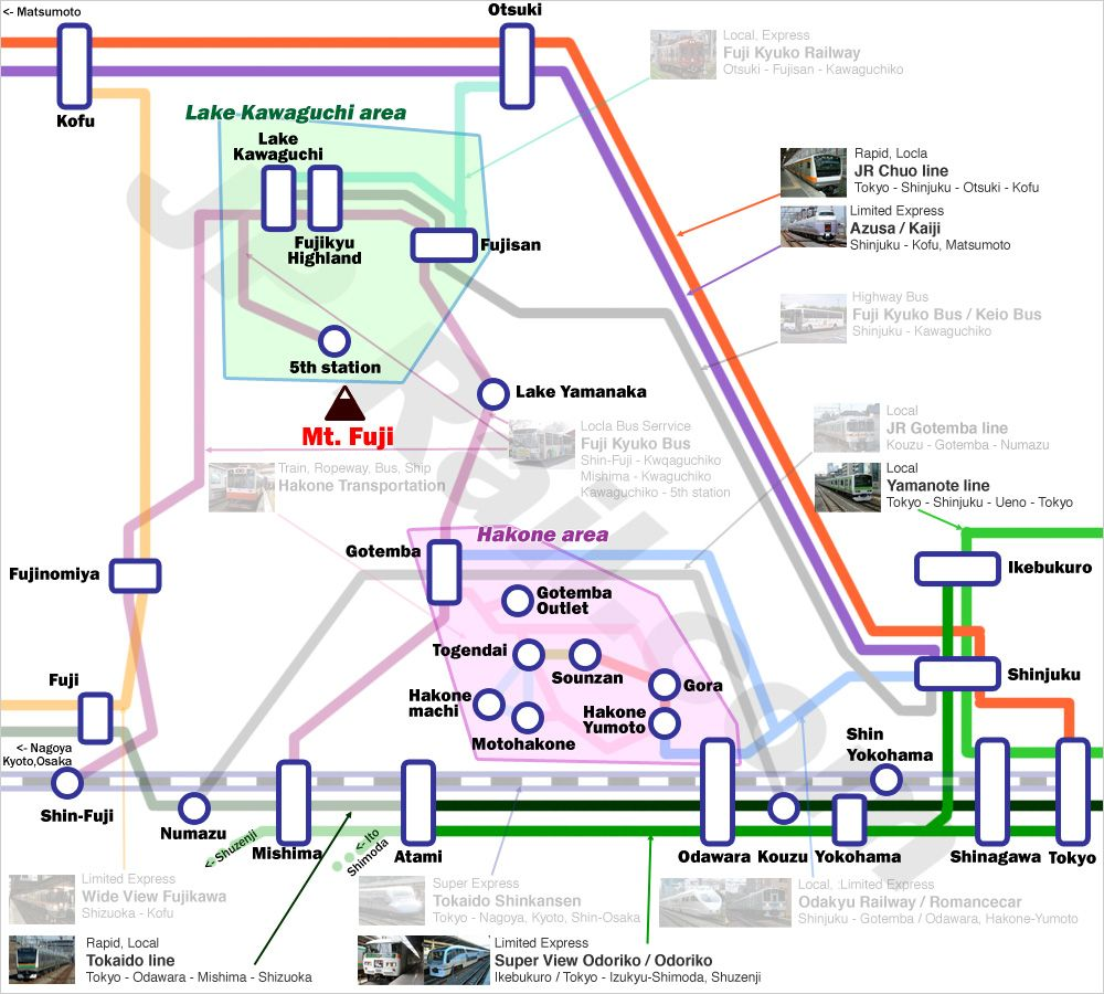 Fuji Hakone Access Guide By Train And Bus From Both Tokyo And - Japan map fuji
