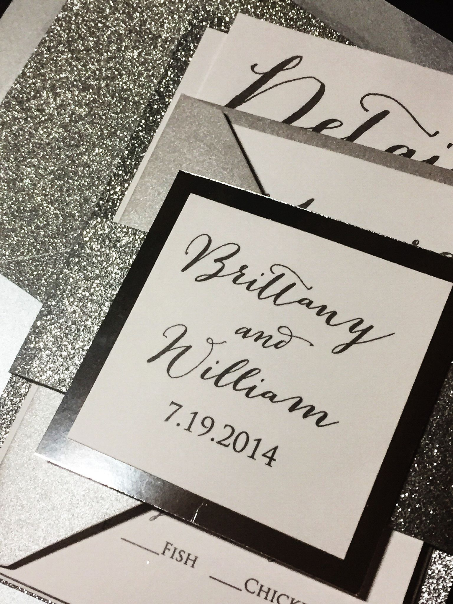 Silver Glitter Wedding Invitation Calligraphy Wedding Invitation