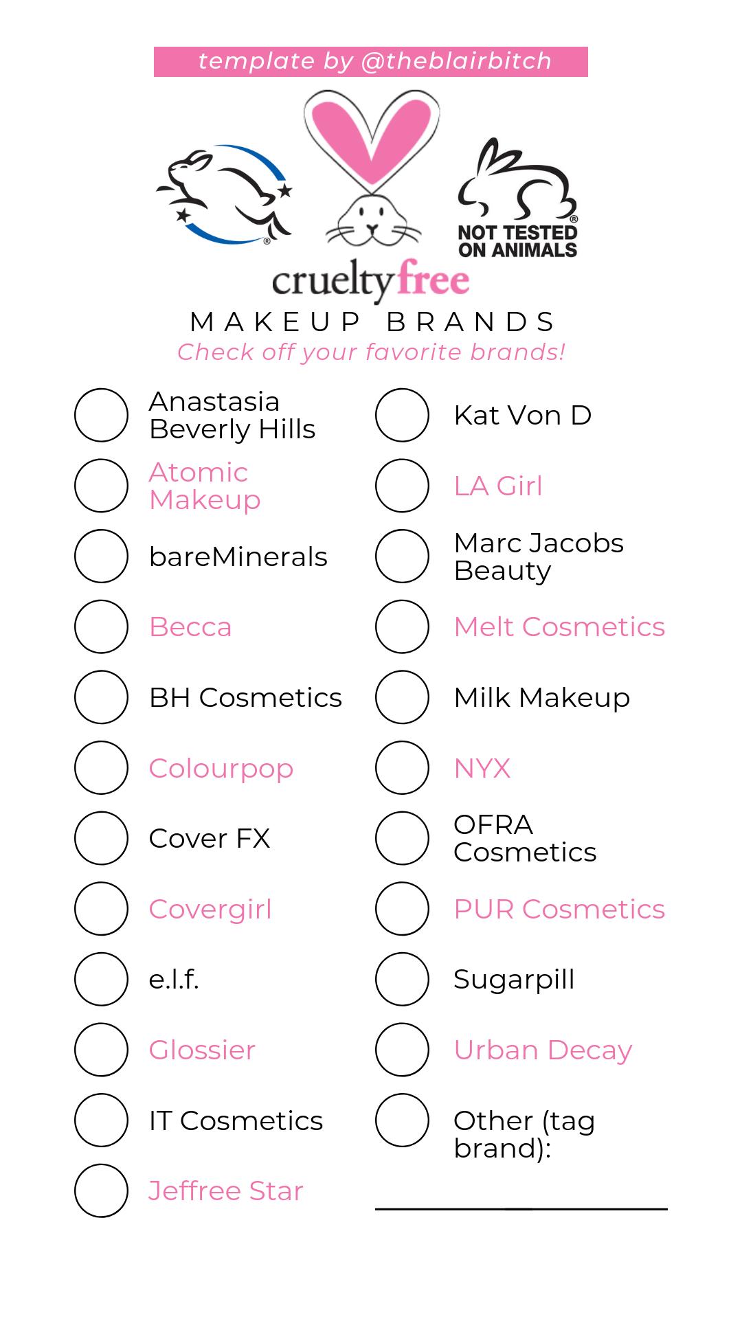 Cruelty Free Makeup Brands Checklist Instagram Story