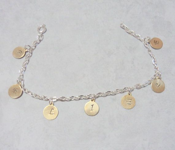 Charm Bracelet Metal Stamped Believe Silver by TAKJewelryDesigns, $12.50 stamped metal blanks: http://www.ecrafty.com/casearch.aspx?SearchTerm=stamping+blank