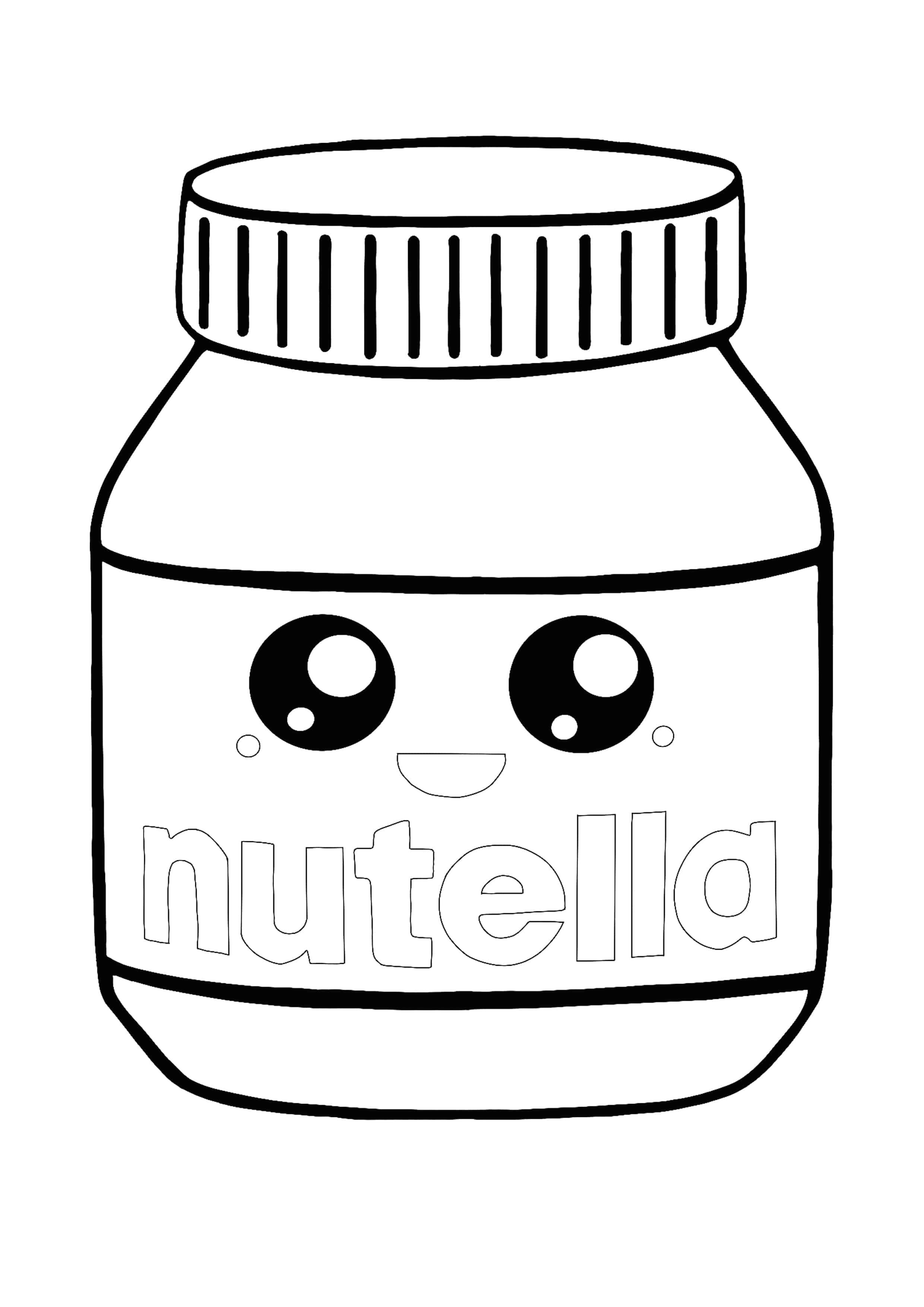 Kawaii Nutella Coloring Page Coloring Pages Cute Coloring Pages Free Printable Coloring Pages