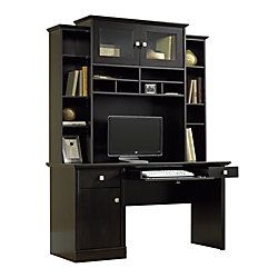 Sauder Conrad Computer Desk And Hutch Estate Black By Office Depot Officemax