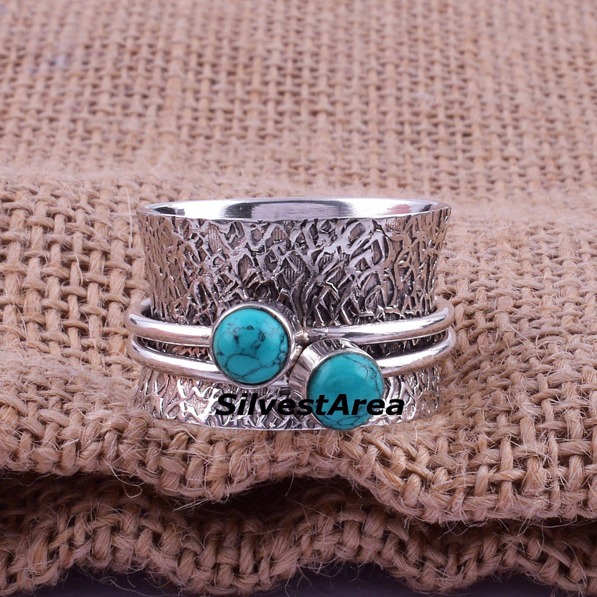 Gemstone Ring Silver jewelry Labradorite Spinner ring spinning ring Meditation ring,Fidget ring,Handmade Silver ring,Spinner band