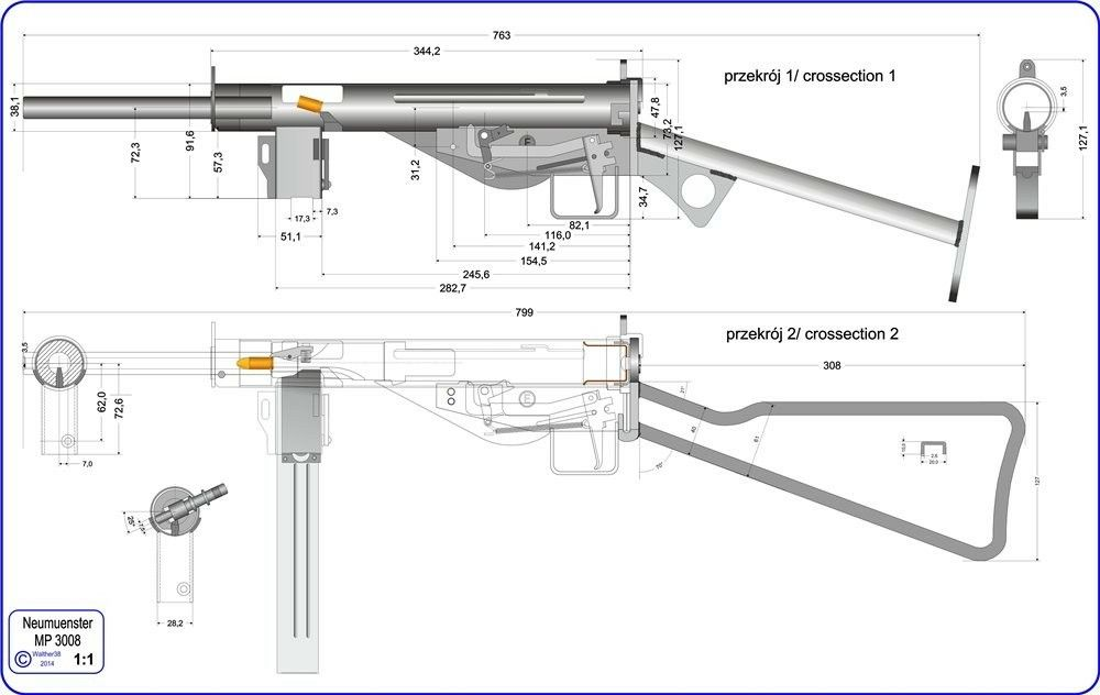 A schematic drawing of the German MP3008, a design derived from the