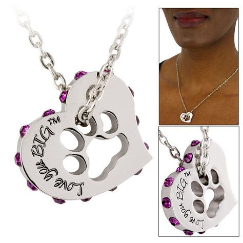 Love You Big Crystal Heart Paw Print Necklace Every Purchase Funds Food And Care For Rescued Animals Paw Print Necklace Paw Jewelry Paw Necklaces
