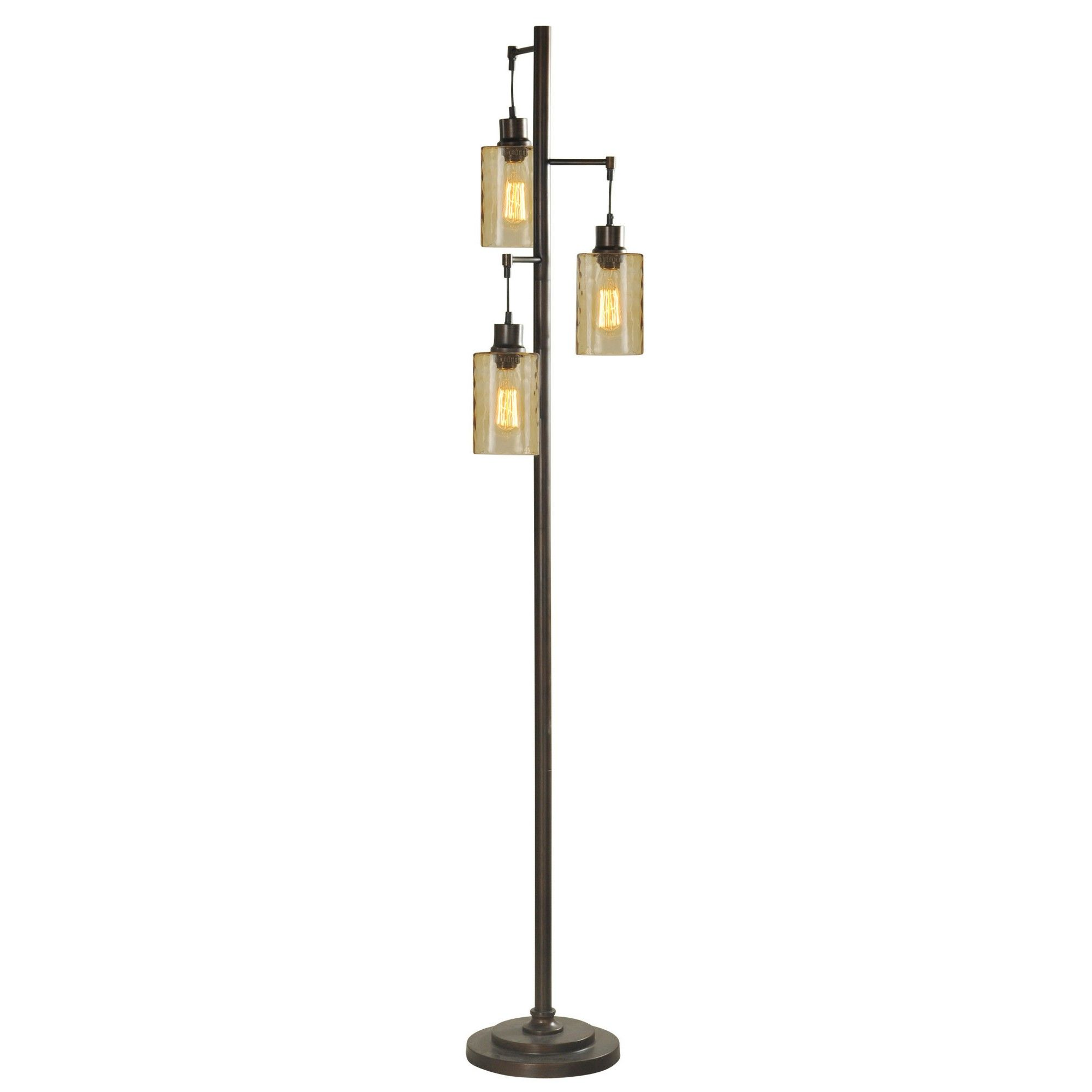 Stylecraft 3 Head Bronze Floor Lamp with Dimpled Glass