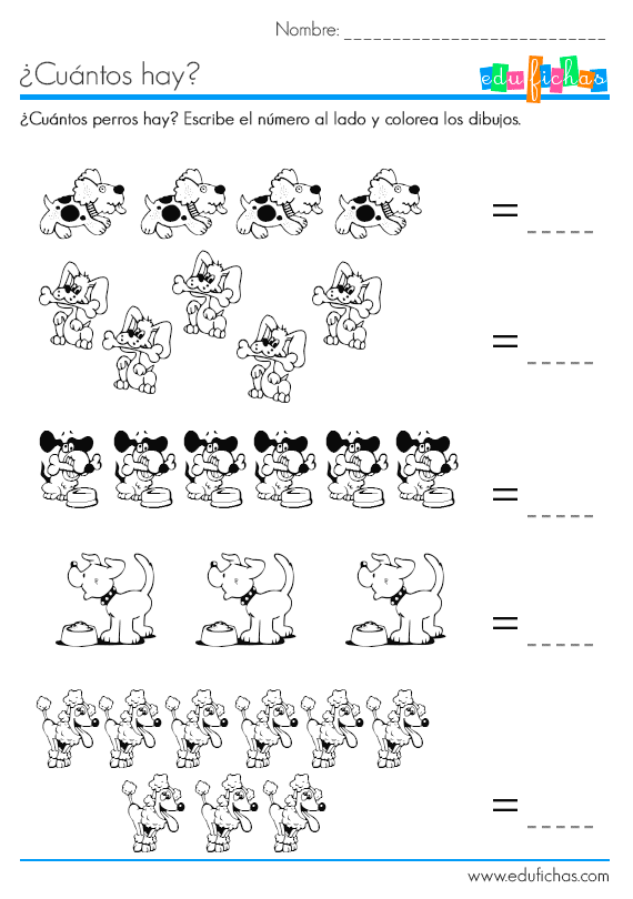 ¿Cuántos hay? Ficha con dibujos para aprender a contar con